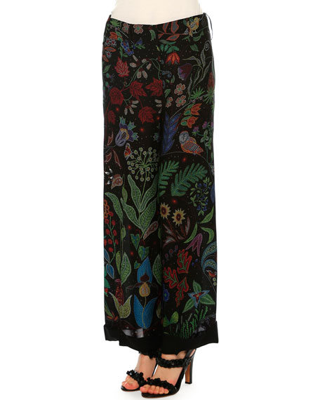 Valentino Water Song Pajama-Style Pants, Multi Colors