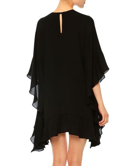 3/4-Sleeve Flutter Poncho Dress, Black