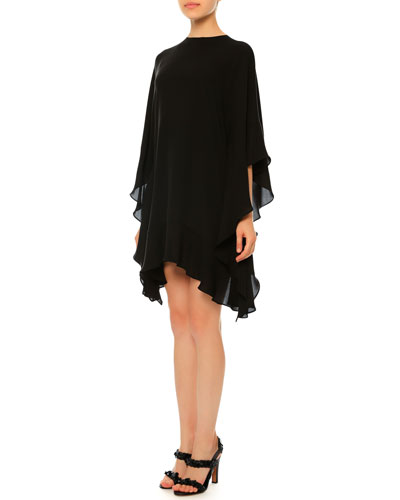 3/4-Sleeve Flutter Poncho Dress, Black