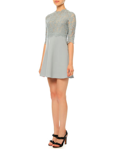 Elbow-Sleeve Lace-Bodice Mini Dress, Light Blue