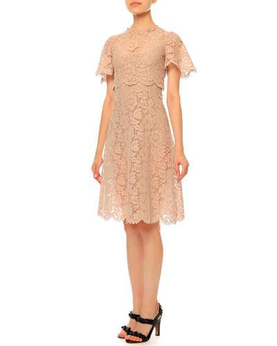 Flutter-Sleeve Heavy-Lace Dress, Pink