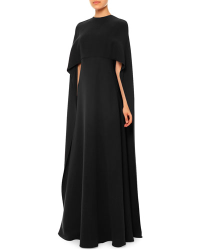 Jewel-Neck Half-Sleeve Capelet Gown, Black