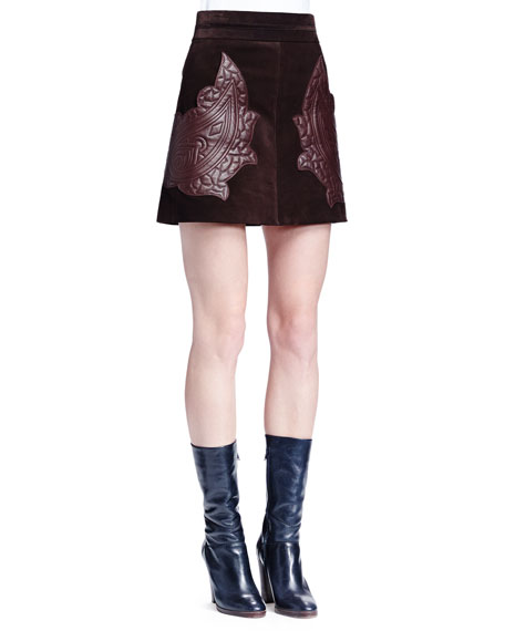 Chloe Paisley-Embroidered Suede Mini Skirt, Dark Brown