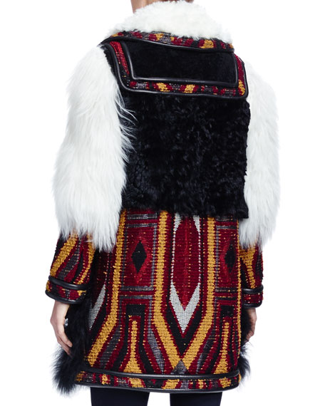Persian Tapestry Shearling Fur Coat