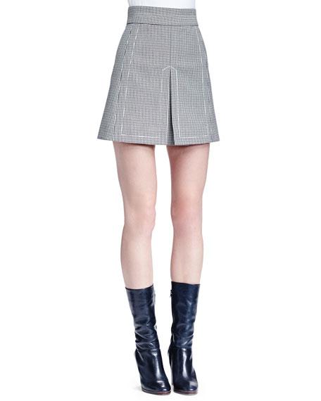 Chloe Houndstooth Split-Front Skirt, Black/White