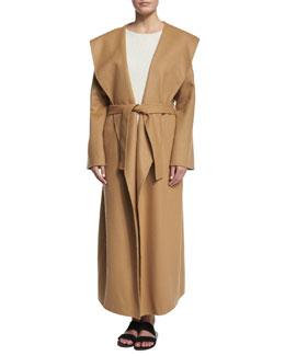 Muna Belted Long Robe Coat, Camel