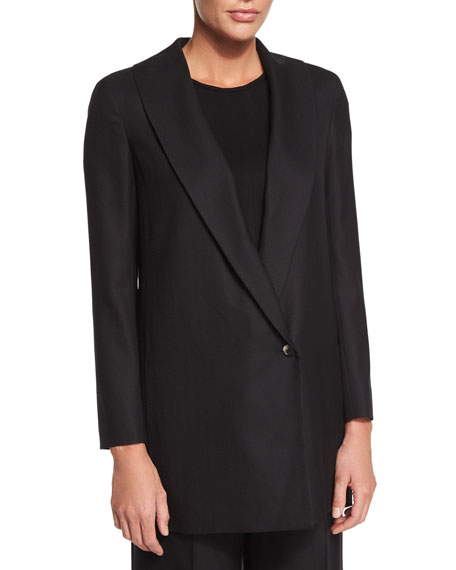 THE ROW Easy Textured One-Button Jacket, Kamil Short-Sleeve
