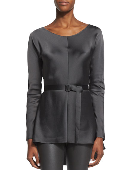 THE ROW Isa Long-Sleeve Belted Top, Pewter