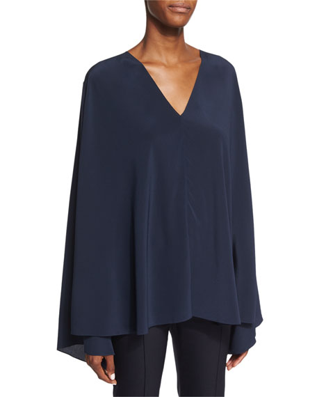 THE ROW Staram Belted Trapeze Top, Navy