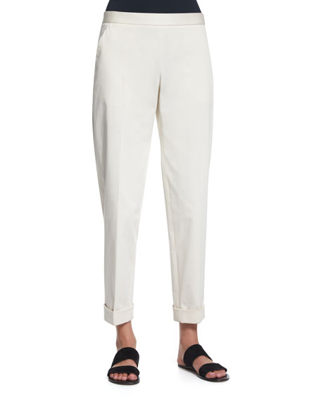 THE ROW Straight-Leg Cropped Pants, Ivory Cream