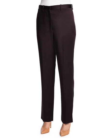 THE ROW Mapion Slim-Leg Pants, Eggplant