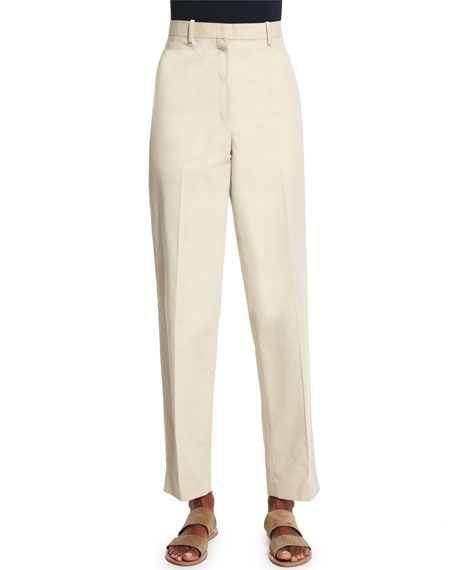 THE ROW Mapion Straight-Leg Ankle Pants, Pearl