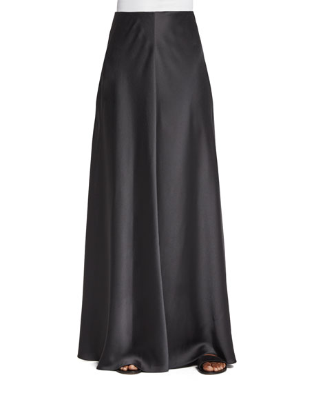 THE ROW Afrol A-Line Long Skirt, Pewter