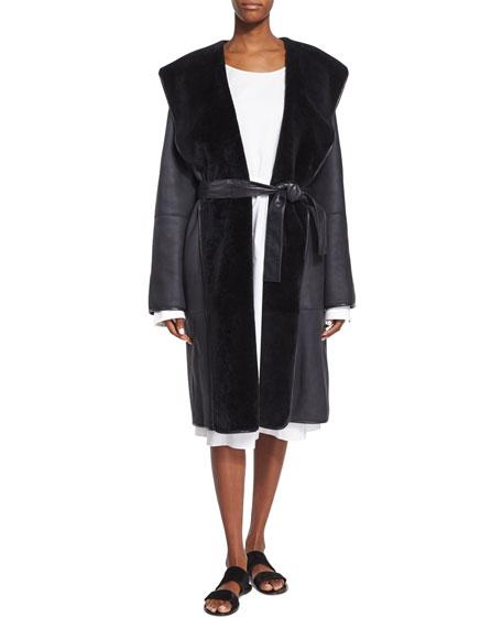 THE ROW Hooded Lamb Shearling Fur Robe Coat,