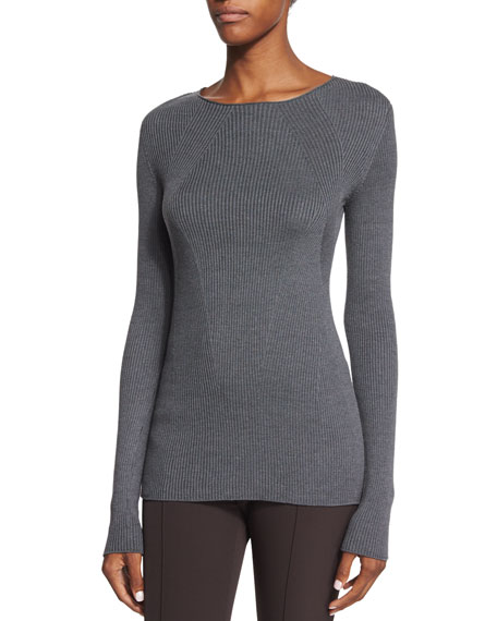 THE ROW Aven Ribbed Long-Sleeve Sweater, Graphite