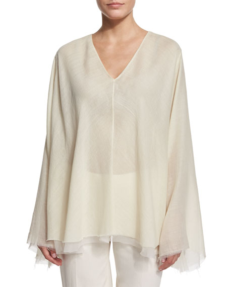 THE ROW Maram Belted Trapeze Top, Ivory Cream