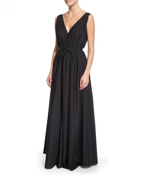 THE ROW Silk Organza Self-Belt Gown, Black