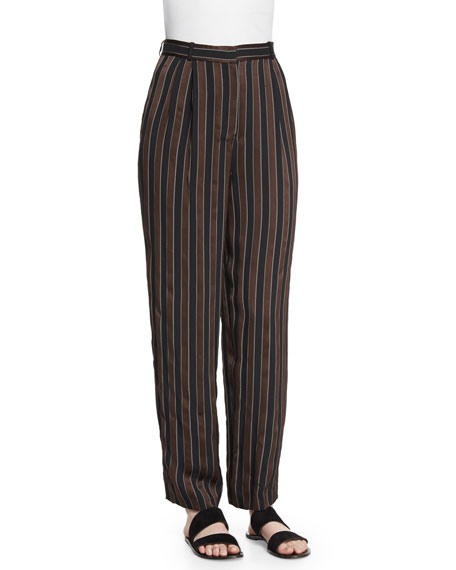 THE ROW Sala Pleated-Front Striped Pants, Cigar/Black Stripe