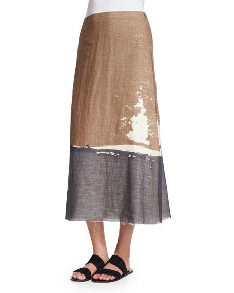 THE ROW Loria Screen-Print Colorblock Skirt, Ivory Cream