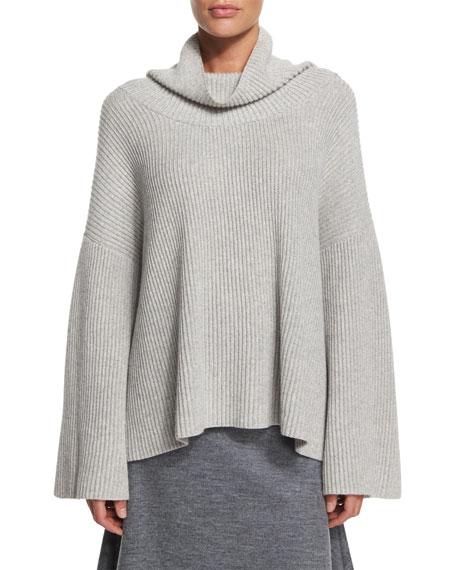 THE ROW Kaima Long-Sleeve Sweater, Light Gray