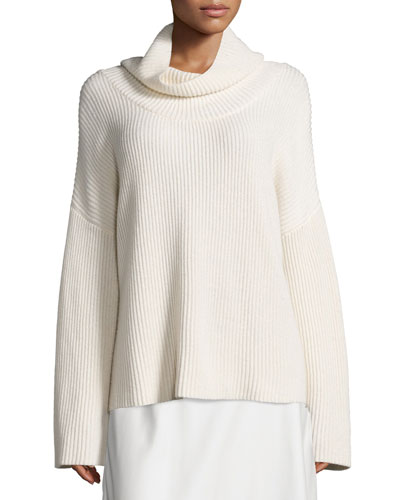 Kaima Ribbed Long-Sleeve Sweater, Ivory