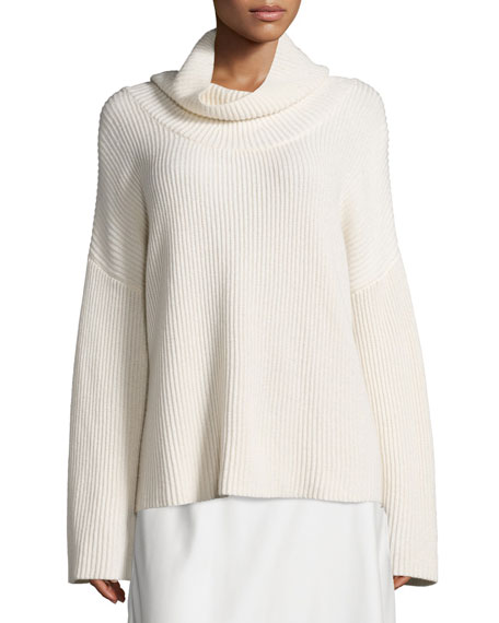 THE ROW Kaima Ribbed Long-Sleeve Sweater, Ivory