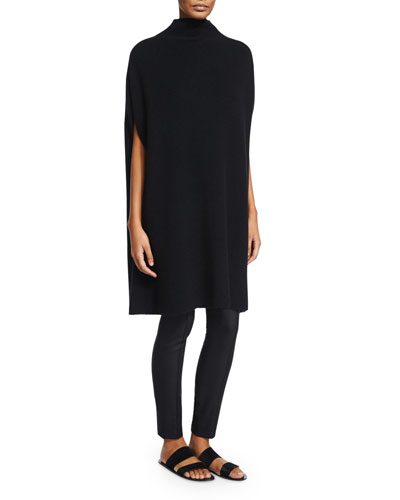 THE ROW Aram Ribbed-Cashmere Poncho Sweater, Black