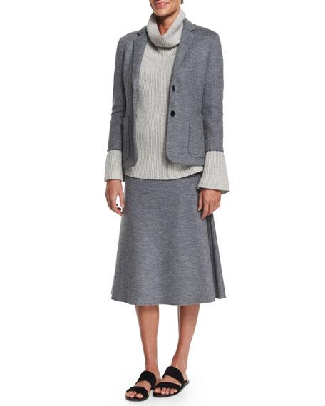 Natal High-Waist A-Line Skirt, Medium Gray Melange