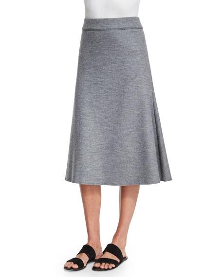 THE ROW Natal High-Waist A-Line Skirt, Medium Gray
