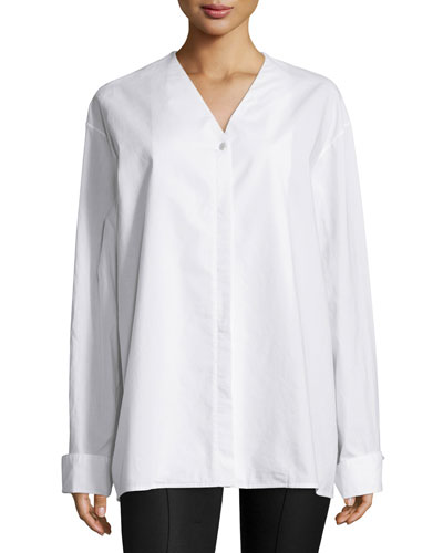 THE ROW Moyo Long-Sleeve Oversized Shirt, White