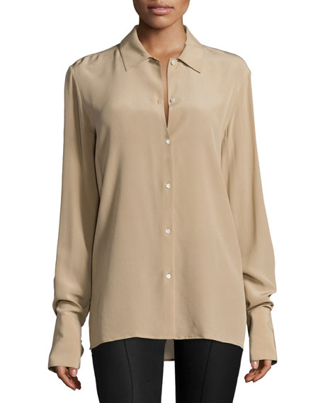 THE ROW Nolta Long-Sleeve Button-Front Blouse, Heather Stone