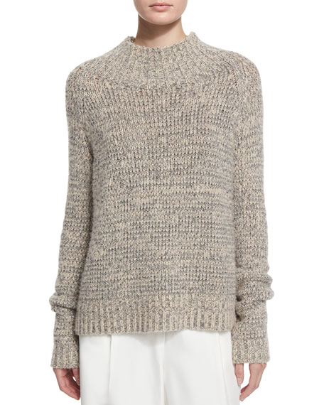 THE ROW Hetty Funnel-Neck Sweater, Black/White