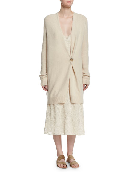 THE ROW Eleset One-Button Cardigan, Cream