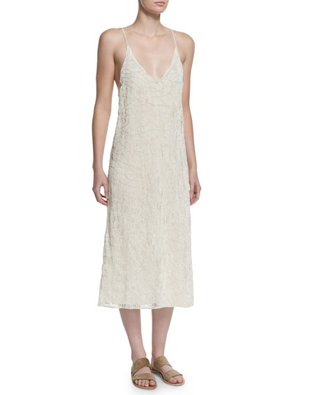 THE ROW Tatan Embroidered Camisole Dress, Off White