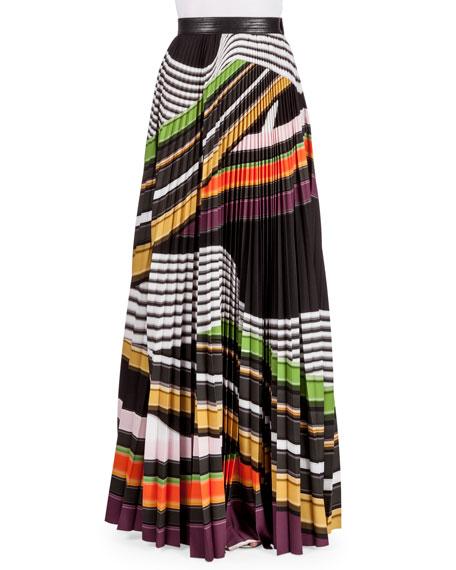 Mary Katrantzou Multi-Stripe Plisse Maxi Skirt, Viola Stripe