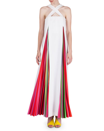 Sleeveless Rainbow-Plisse Gown, White