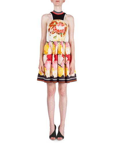 Floral-Print Fit-&-Flare Dress, Rainbow Stripe