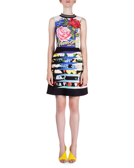 Mary Katrantzou Floral-Print Fit-&-Flare Dress, Floral Peel Blue