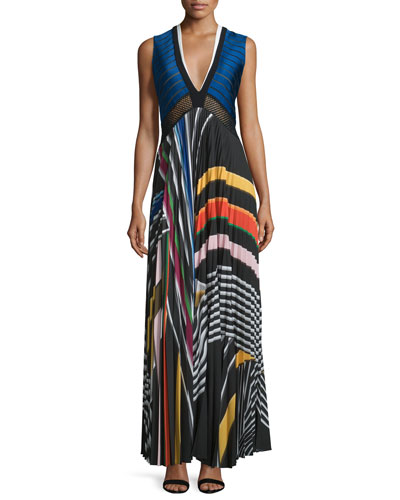 Sleeveless V-Neck Rainbow Maxi Dress, Black Rainbow