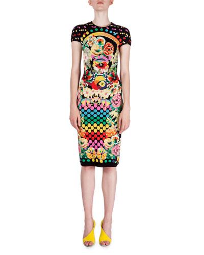 Intarsia Multi-Print Dress, Black Cornice