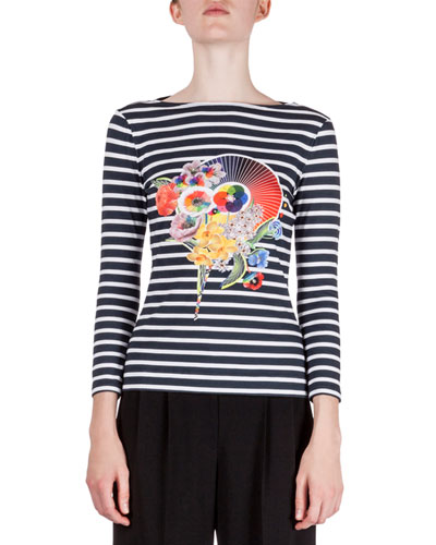 Floral-Print Striped T-Shirt, Black Stripe
