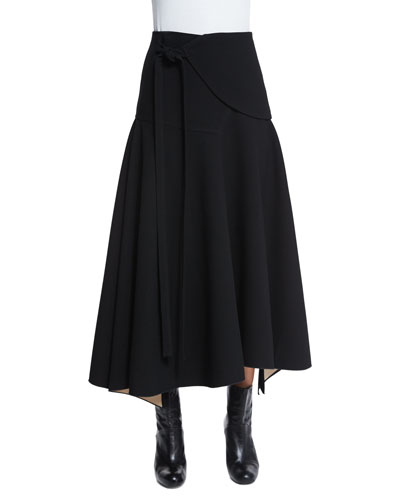 Flare-Wrap Midi Skirt, Black
