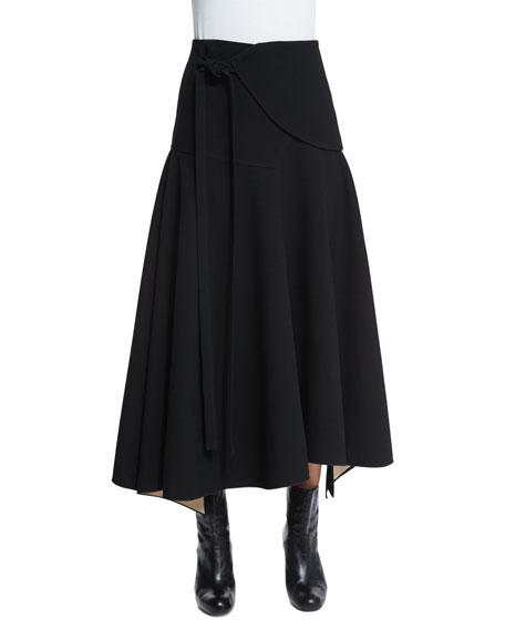 Derek Lam Flare-Wrap Midi Skirt, Black