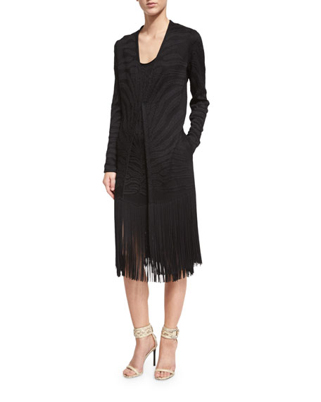 Roberto Cavalli Long-Sleeve Jacket W/Fringe Trim, Black