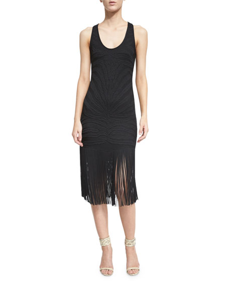 Roberto CavalliSleeveless Sheath Dress W/Fringe Trim, Black