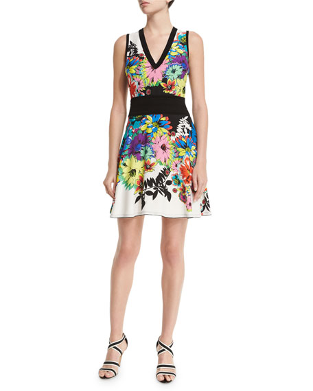 Roberto Cavalli Flower Power Sleeveless Dress, Black/White/Blue
