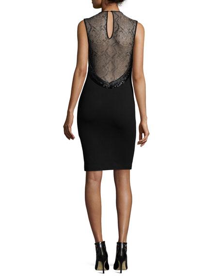 Sleeveless Lace-Inset Cocktail Sheath Dress, Black