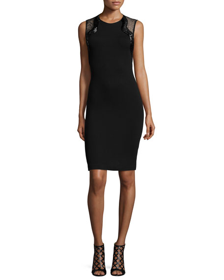 Roberto Cavalli Sleeveless Lace-Inset Cocktail Sheath Dress, Black