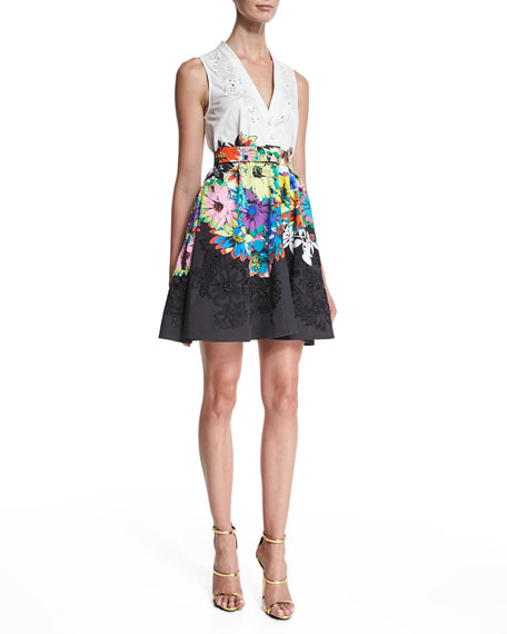 Roberto Cavalli Sleeveless Embroidered Fit-&-Flare Dress,
