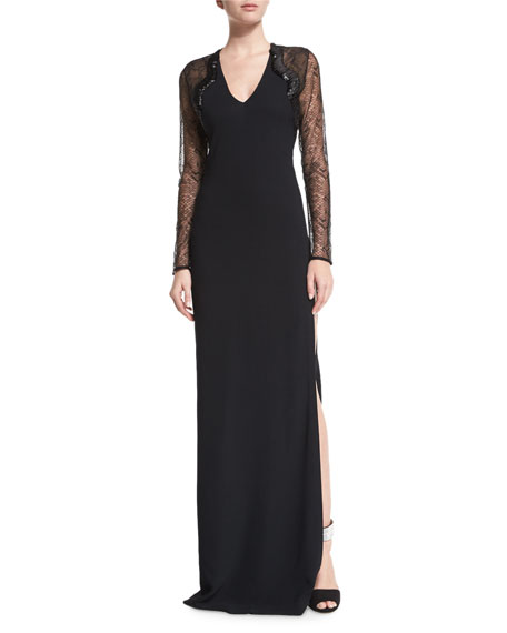 Roberto Cavalli Embellished Lace-Sleeve Gown, Black